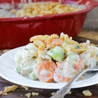 Creamy Swiss Cheese Mixed Vegetable Casserole.