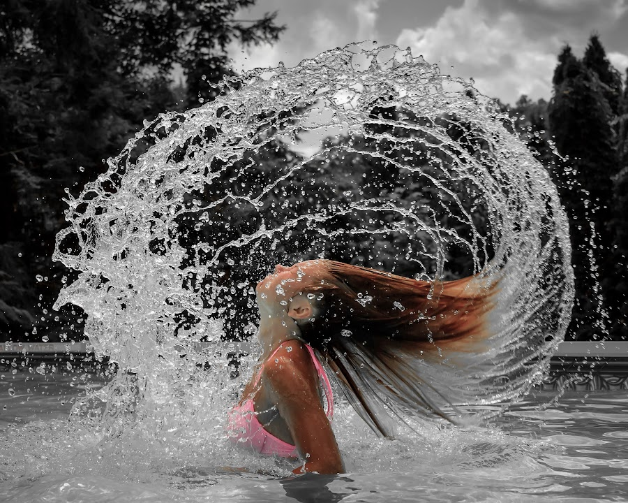 Mermaid by Brian Caldwell - People Street & Candids ( water, cool, bathing, splash, pool, summer, hair, swimming, flip, , color, colors, landscape, portrait, object, filter forge, selective color, pwc )
