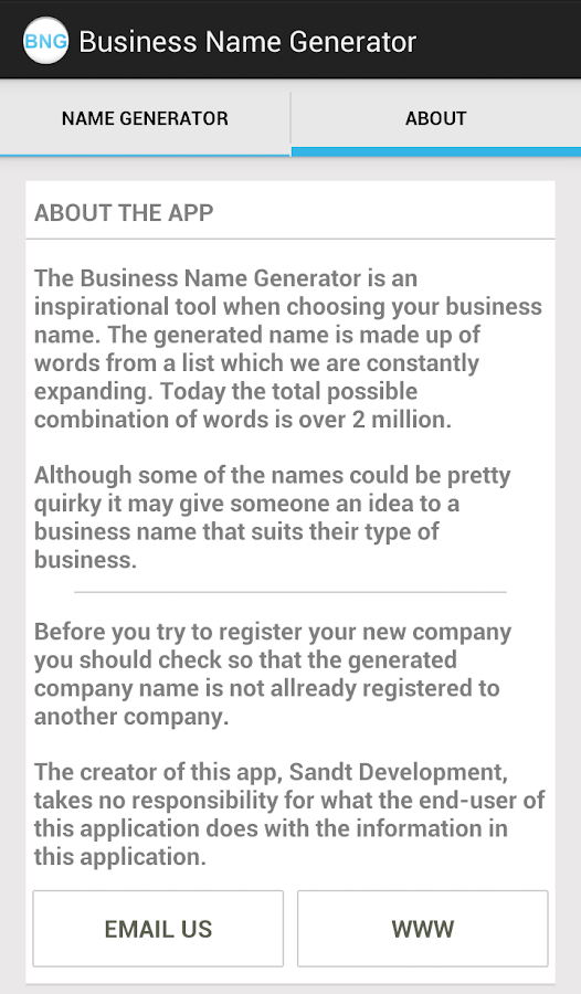 Business Name Generator- screenshot
