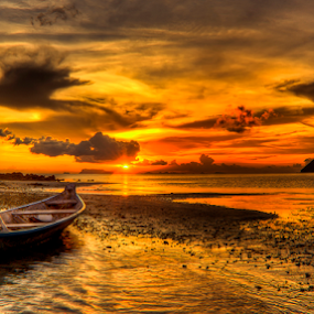 Beach at sunset by Richard ten Brinke - Landscapes Beaches ( , water, device, transportation )