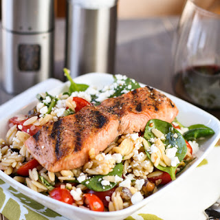 Salmon with Spinach and Tomato Orzo Recipe