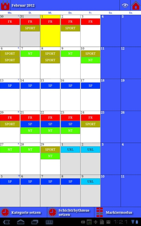 Work Calendar - screenshot