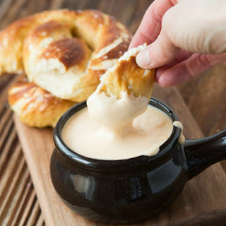 Soft Pretzels with Cheese Sauce.