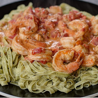 Fresh Herb Pasta with Creamy Tomato Shrimp Sauce