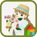 Girl holding flower dodol icon