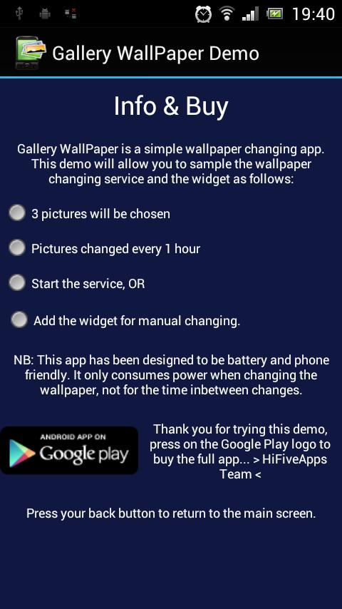 Gallery WallPaper Demo - screenshot