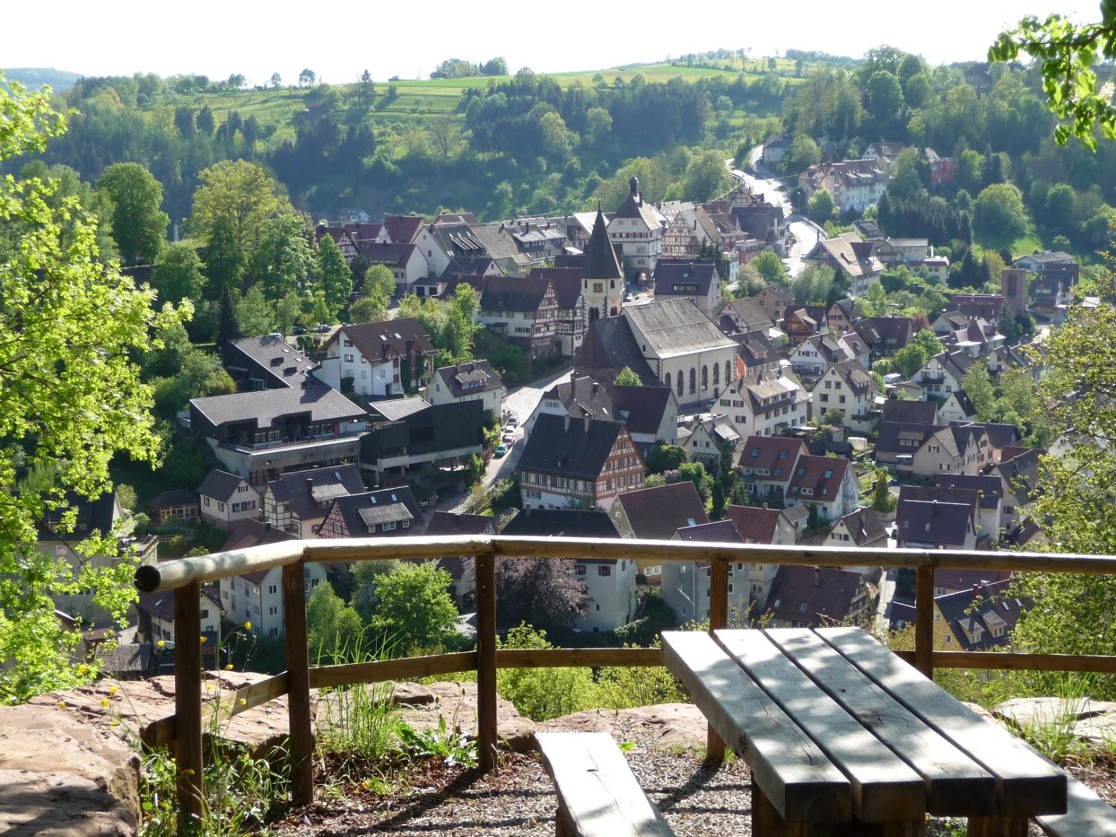 Genieße den Ausblick über die kleine Schäferstadt Wildberg von der Kastanie aus