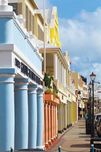 buildings-front-Hamilton-Bermuda - Historic Front Street in Hamilton, the capital of Bermuda.