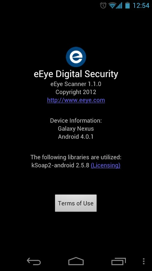 eEye Android Scanner - screenshot