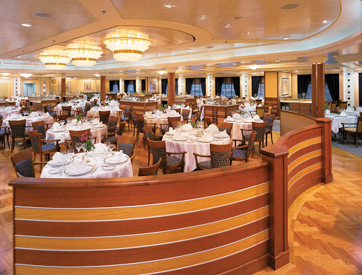 Silversea_main_dining_room - The main dining room on Silver Whisper is sure to please with its sophisticated cuisine and attentive service.