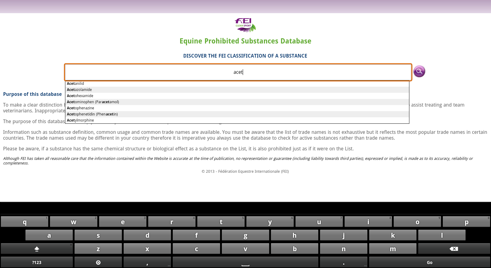 FEI CleanSport Database - screenshot