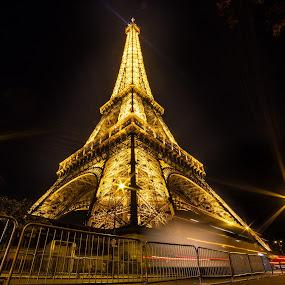 Eiffel by Cosmin Stahie - Buildings & Architecture Public & Historical ( paris, tower, lower, side, foot, la, eiffel, night, yellow, tour )