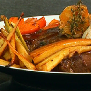 Roast Rib of Beef with Roasted Carrots, Leeks and Parsnips