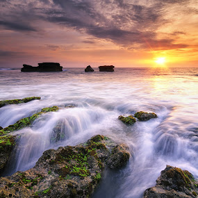 Red Reverie by Eggy Sayoga - Landscapes Sunsets & Sunrises ( bali, indonesia, sunset, wave, beach, motion, sun )