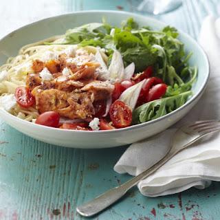 Warm Salmon and Arugula Pasta Salad.