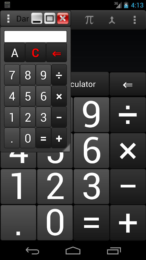 DarkCalc-(popup & normal calc)- screenshot