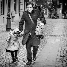 Street fashion by Adrian Mitu - People Street & Candids ( walking, b&w, girl, clothes, street, little, man )