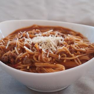 Pressure Cooker One Pot Spaghetti.