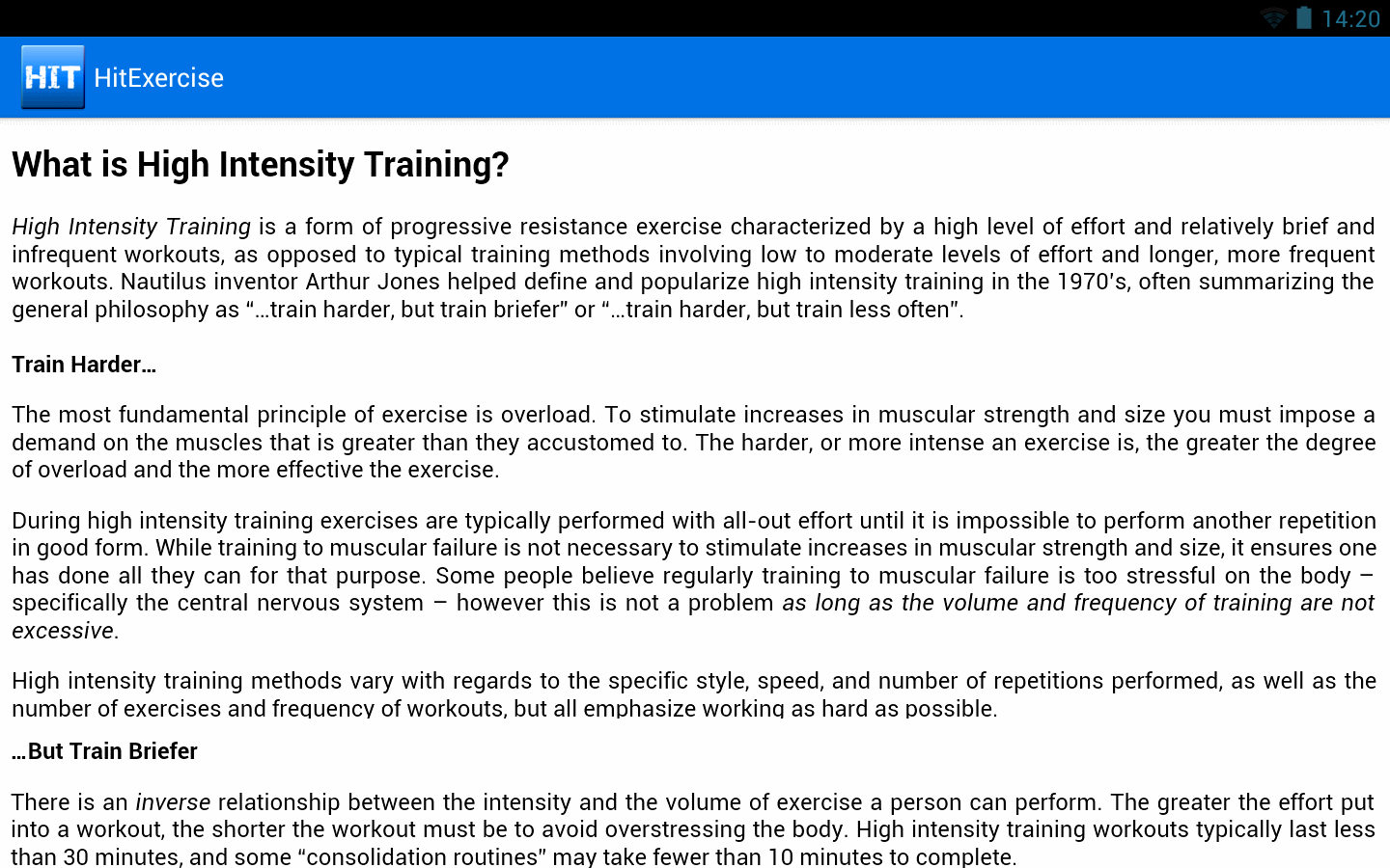 HIIT Exercise Training Guide - screenshot