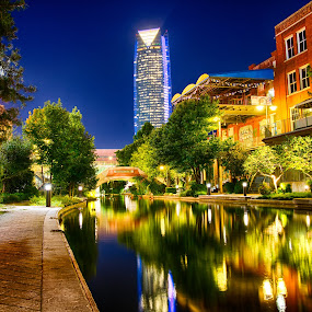 Night Stroll on the River by Robb Harper - City,  Street & Park  Night ( water, reflection, skyline, oklahoma city, bricktown, riverwalk, night, photos by robb harper, river )
