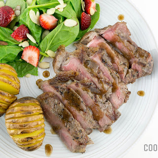 Balsamic Steak with Strawberry Arugula Salad
