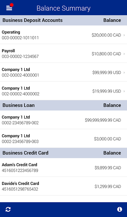 RBC Express Business Banking - screenshot