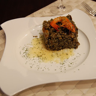 Black Risotto with Shrimp and Mushrooms.