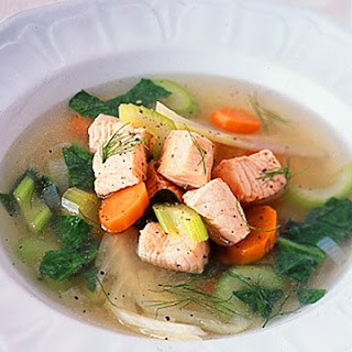 Poached Salmon, Leek, and Fennel Soup.