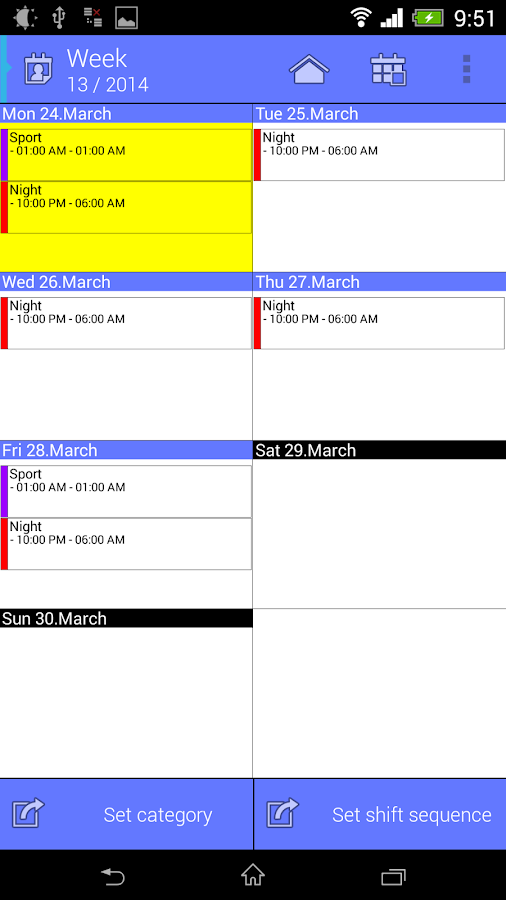 Work Calendar- screenshot