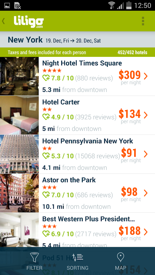 Liligo flight and hotel search- screenshot