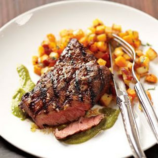 Grilled Flat-Iron Steak with Chimichurri and Butternut Squash and Rutabaga Hash
