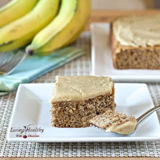 Banana Poppy Seed Cake with White Chocolate Vanilla Bean Frosting.