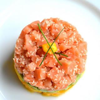Salmon Tartare with Avocado & Mango.