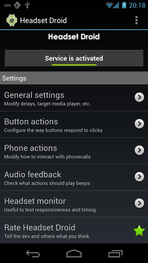 Headset Droid - screenshot