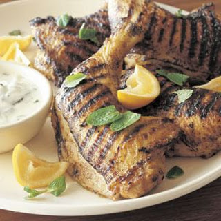 Curry-Spiced Grilled Chicken Legs with Raita (Madras Curry).