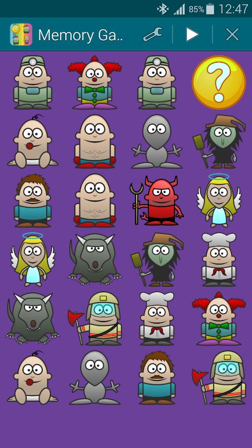 Χαρακτήρες, Παιχνίδι Μνήμης - screenshot
