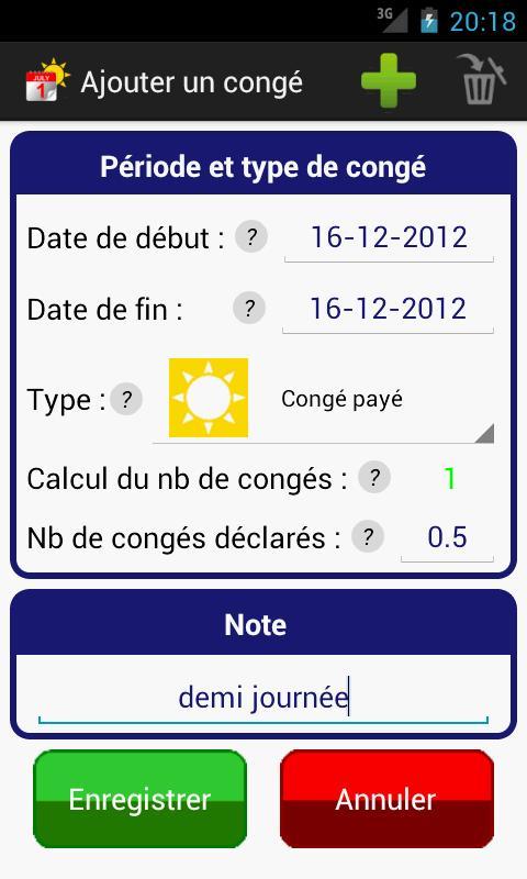 Gestion Congés RTT Vacances - screenshot