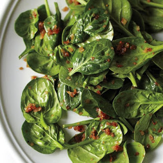 Wilted Spinach Salad with Caramelized Shallots.
