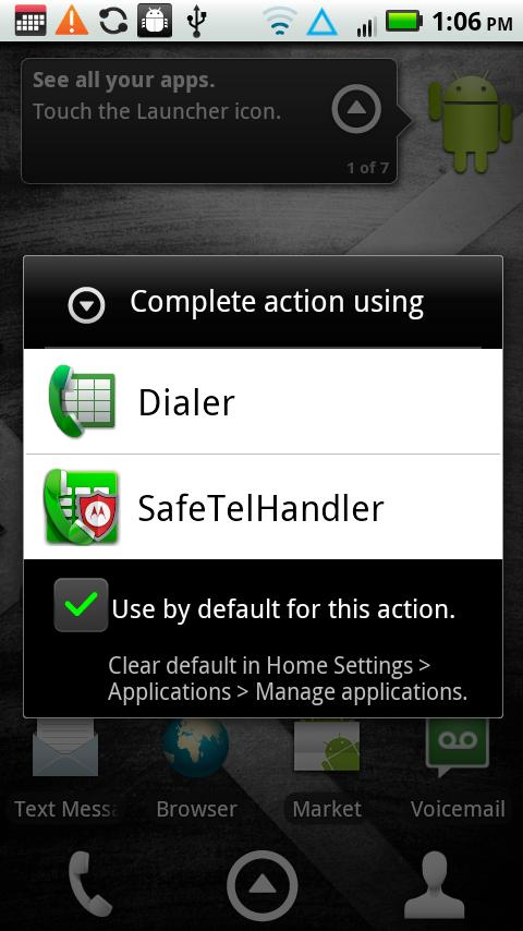 SafeTelHandler - screenshot