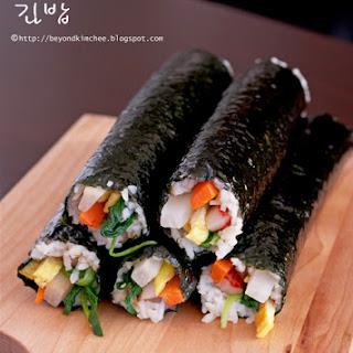 Korean seaweed rice rolls (Kimbap).