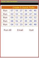 Screenshot of Texas Lotto generator