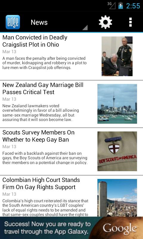 EDGE Gay/Lesbian News Reader - screenshot