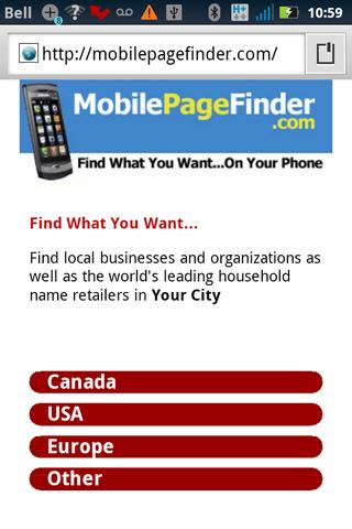 Mobile Page Finder
