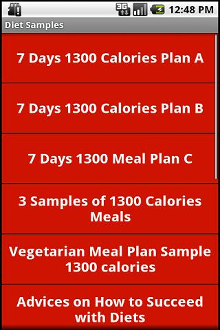 1300 and 1800 Calories Diets - screenshot