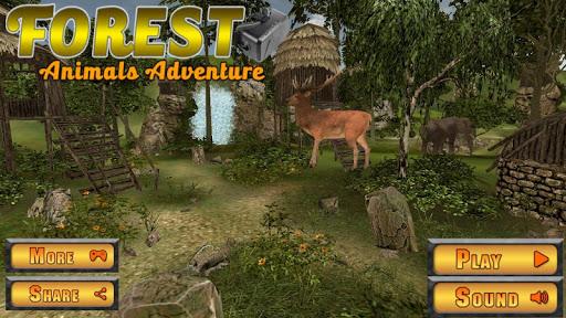 虚拟现实森林里的动物的冒险