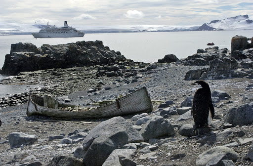 270d3HalfMoonChinstraps - Half Moon Island, another landing spot. That's a chinstrap penguin and the hulk of an old Norwegian fishing boat in the foreground.