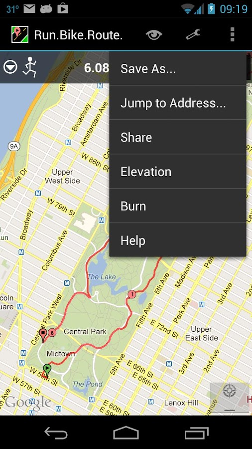 RunBikeRoute- screenshot
