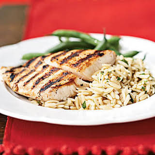 Pan-Grilled Snapper with Orzo Pasta Salad.