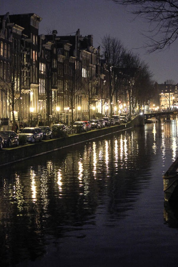 Canals of Amsterdam by Laura Robles - City,  Street & Park  Night ( water, lights, reflection, cars, amsterdam, canal, nightscape, city,  )