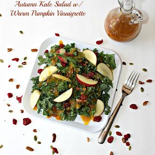 Autumn Kale Salad with Warm Pumpkin Vinaigrette